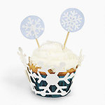 Die Cut Snowflake Cupcake Collars With Picks