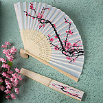 Cherry Blossom Design Silk Folding Fan Favor