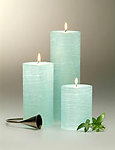 Ocean Textured Aqua Pillar Candle - 3 Size Choices!