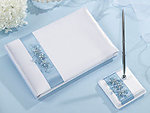 Light Blue Flower Guest Book with Pen Set