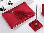 Diamond Red Guest Book with Pen Set