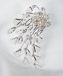 Crystal Flower & Silver Leaf Rhinestone Hair Comb