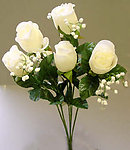 CREAM Dew Drop Open Rose Bouquet - 7 Buds!
