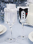 Bride & Groom Champagne Glass Covers