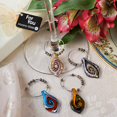 murano glass collection wine charm favor