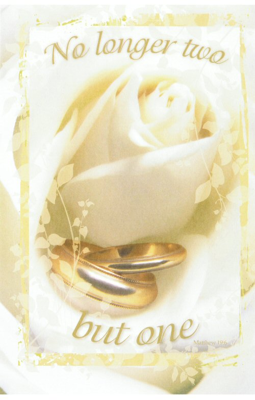 No Longer Two But One White Rose Blank Wedding Programs Pkg 100