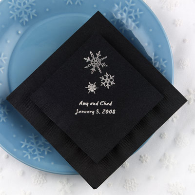 100 Winter Snowflake Wedding Napkins Personalized