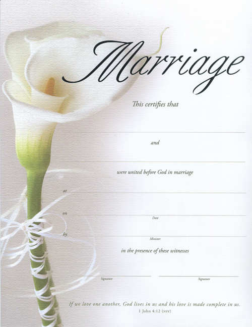 Lily Keepsake Marriage Certificate