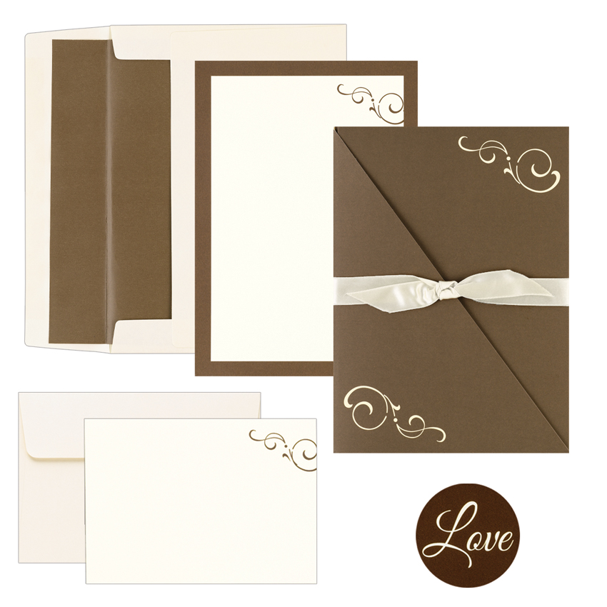 Chocolate Brown Swirl Pocket Folder DIY Printable Wedding ...