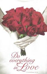 Do Everything in Love Red Rose Blank Wedding Programs - Pkg 100