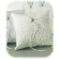 Bridal Tapestry Ring Pillow - White or Ivory