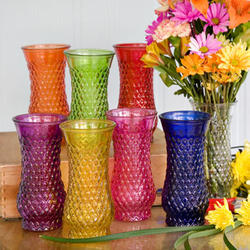 8 Embossed Glass Vase - 6 Colors!