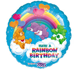 18 Inch Carebear Rainbow Birthday Mylar Balloon