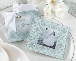 Fleur-de-Lis Frosted-Glass Photo Coasters (Set of 2)