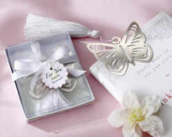 Butterfly Silver-Metal Bookmark with White Silk Tassel