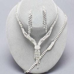 3 Piece Lavish Lines Rhinestone Necklace Set