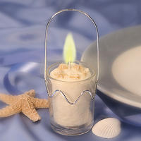 Beach Themed Glass Pail Candle Holder