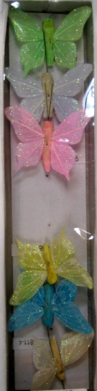 2 Glitter Feather Butterflies - 2 Colors!
