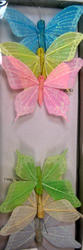 4 Glitter Feather Butterfly - Pkg 12 - 2 Colors!