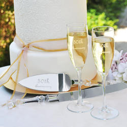 Anniversary Flutes & Cake Server Set - 25th or 50th