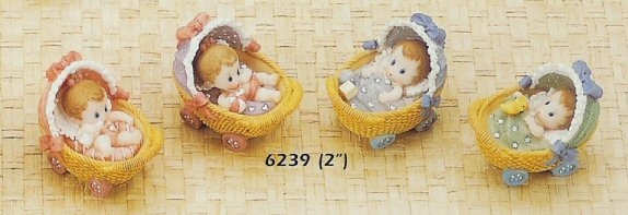 Baby in Buggy Resin Favor - Boy or Girl Design