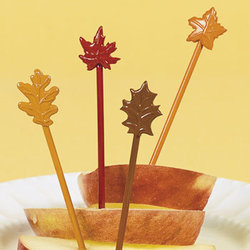 Plastic Fall Leaves Food Picks - Pkg 12