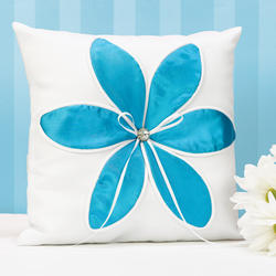 Aqua Blossom Ring Pillow