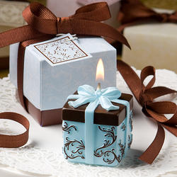 Brown and Blue Gift Box Candle Favor