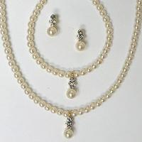 3 Piece Pearl/Rhinestone Set - White or Ivory