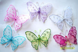 8.5 Organza Swirls Sequins & Beads Butterfly - Colors!