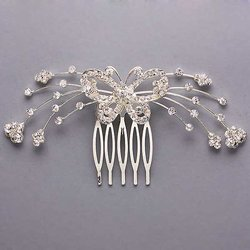 Butterfly Design Clear Rhinestone Hair Comb