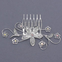 6 Swirls & Flower Rhinestone Hair Comb