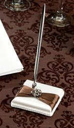 Brown Jeweled Cream Pen Set