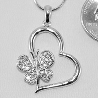 Butterfly & Heart Rhinestone Necklace - Silver or Gold!