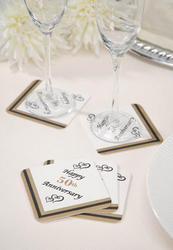 25th or 50th Anniversary Paper Coasters - Pkg 10