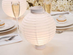 8 White Chinese Paper Lanterns - Pkg 2