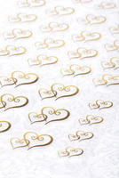 53 Double Heart Metallic & Clear Stickers - Gold or Silver