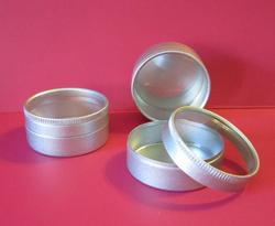 2 Tin & Plastic Round Favor Box - Pkg 12