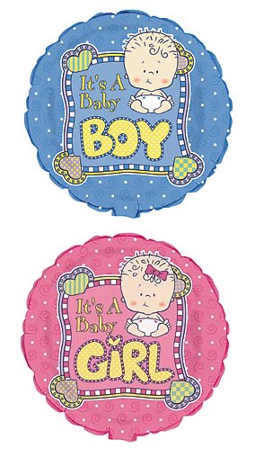 18 Caucasian Its A Boy or Its A Girl Baby Design Mylar Balloon