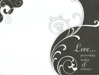 Black & White Swirl Love Yesterday Blank Wedding Programs - Pkg 100