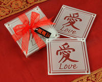 Asian Love Glass Coasters - Pkg 2