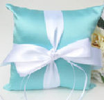 Stylish Aqua Ring Bearer Pillow