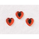 12 mm Red Acrylic Heart Rhinestones - Pkg 40