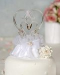 Glass Swan Cake Topper with Heart