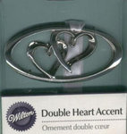 Wilton Silver Double Heart Accents - Pkg 2