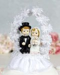 Flower Arch Child Couple Cake Topper