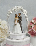 African American Sweet Flower and Crystal Arch Cake Topper