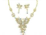 Belladonna Butterfly Austrian Crystal Necklace Set