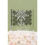 Damask and Scroll Cake Top - White