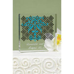 Damask and Scroll Cake Top - Aqua